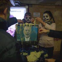 Фотофакт. Флешмоб против российской пропаганды в центре Минска